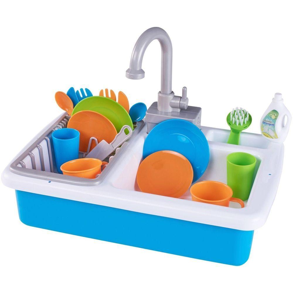 Spark Kitchen Working Sink 20pc Preschool Toys Pretend Play 3