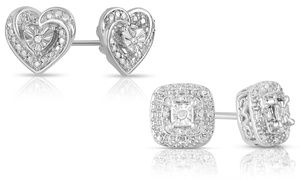 Groupon Closeout Diamond Accent Stud Earrings Deal Price 5 97