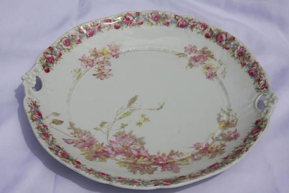 Antique CT Germany White Pink Floral Serving Plate & Antique CT Germany White Pink Floral Serving Plate | Serving plates