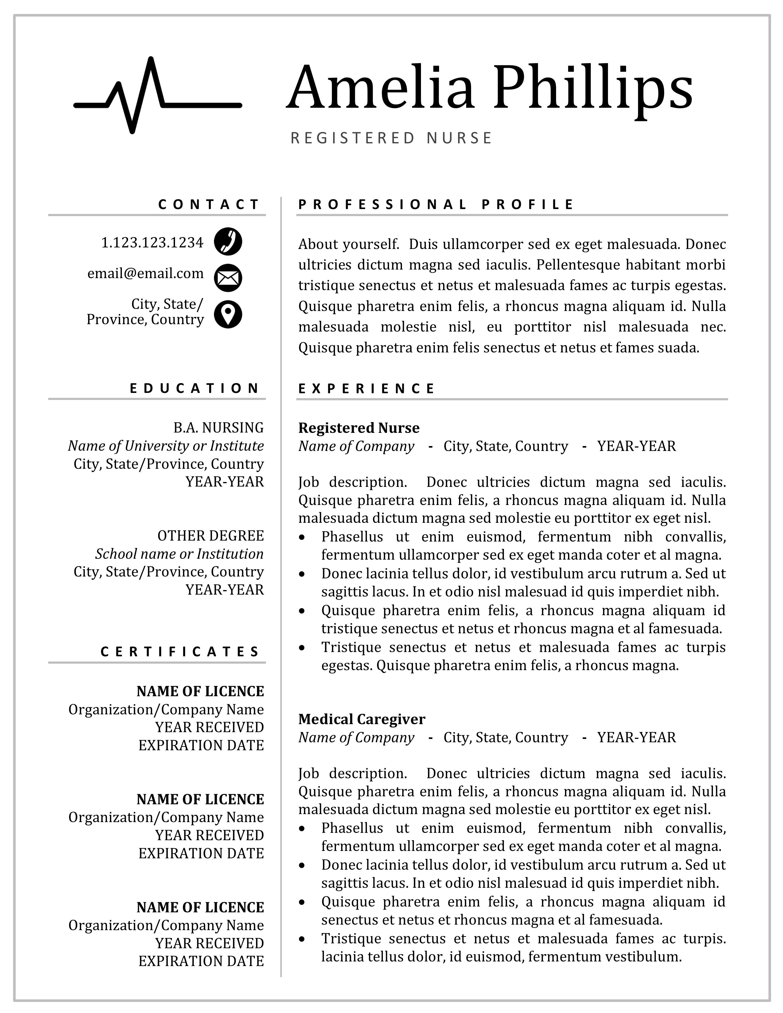 Nurse Resume CV Template Design for MS Word and Mac Pages