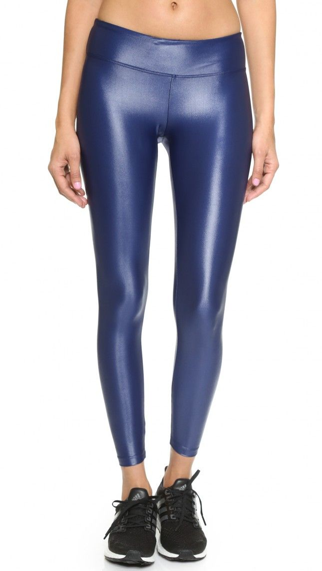 Add some pep to your step with these metallic blue leggings.