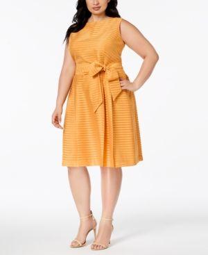 c3b06fce69b Anne Klein Plus Size Shadow-Striped Belted Fit   Flare Dress - Yellow 18W