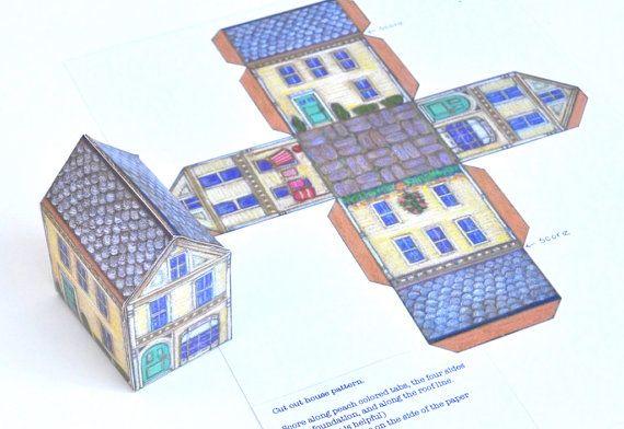 3d Paper House Template Instant Download As Pdf Hausvorlage Papiermodell Kartonhaus