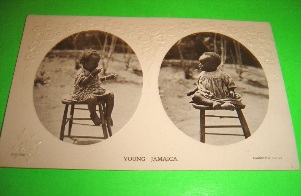 YOUNG JAMAICA CHILDREN OLD PHOTO POSTCARD PRINTED IN