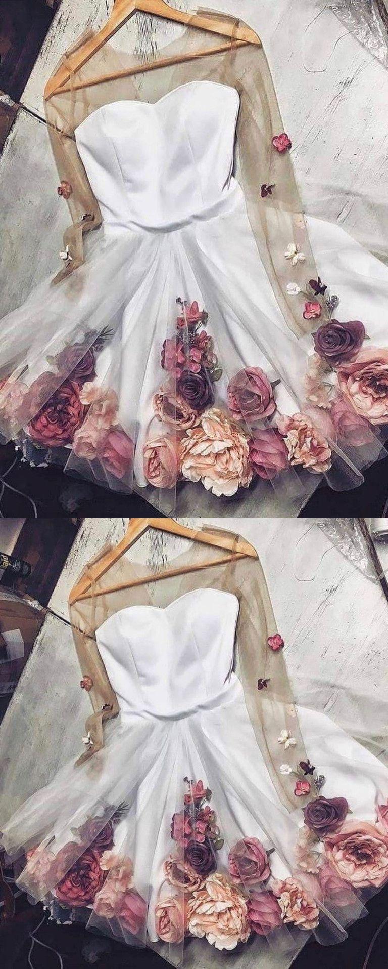 chic aline v neck handmade flower homecoming dresses unique