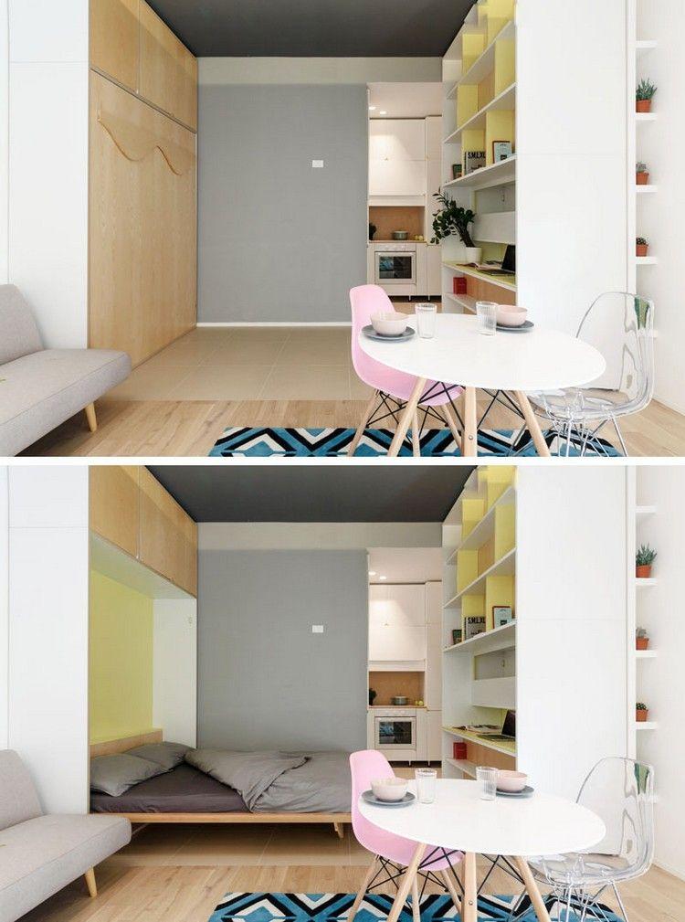 Mini Wohnung Bewegliche Wand Wandklappbett #innendesign #apartment  #interior #design