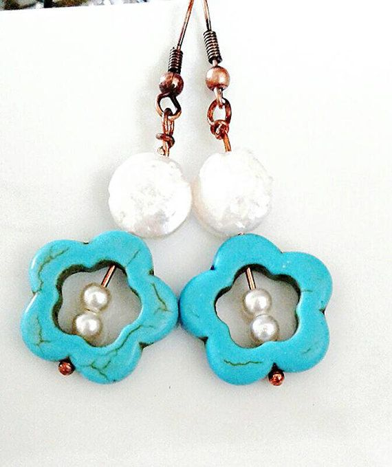 Check out this item in my Etsy shop https://www.etsy.com/ca/listing/216117199/playful-turquoise-flower-earrings-with