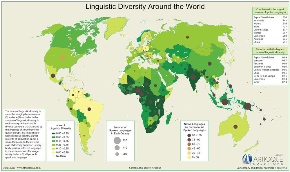 Maps And Charts On Language Language Words And Cross - World languages map