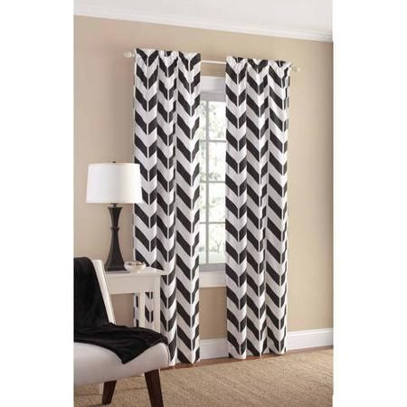 Mainstays Chevron Polyester Cotton Curtain Panel Pair Walmart Com Cotton Curtains Chevron Curtains Panel Curtains