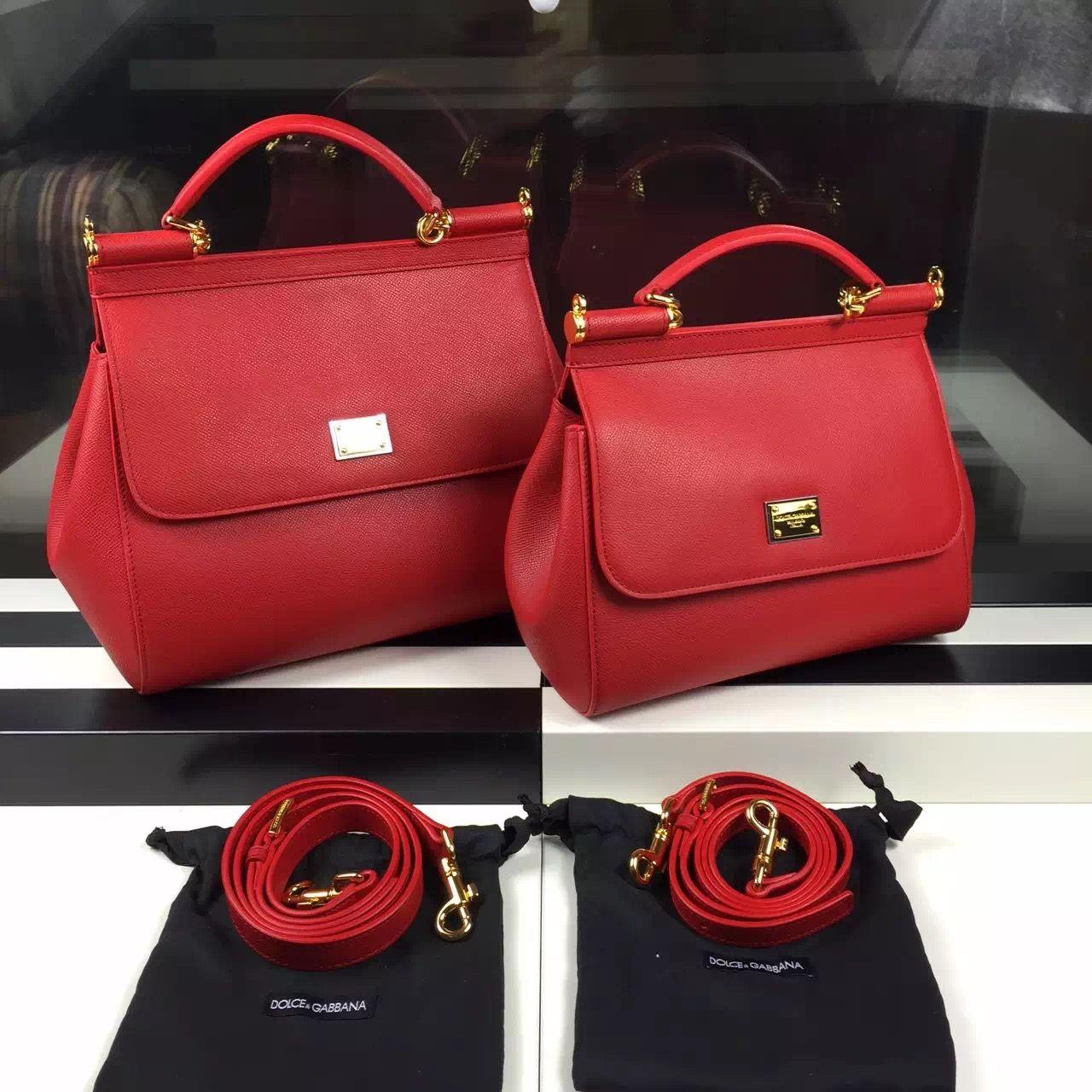 c08b03b75673 Dolce   Gabbana Small Medium Epsom Calfskin Sicily Bag Red