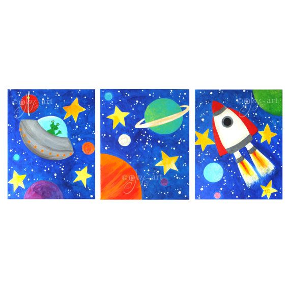 Custom Space Themed Wall Art For Kids Set Of 3 8x10 Inch Etsy Niños Artísticos Lienzo De Arte Para Niños Pintura Del Espacio