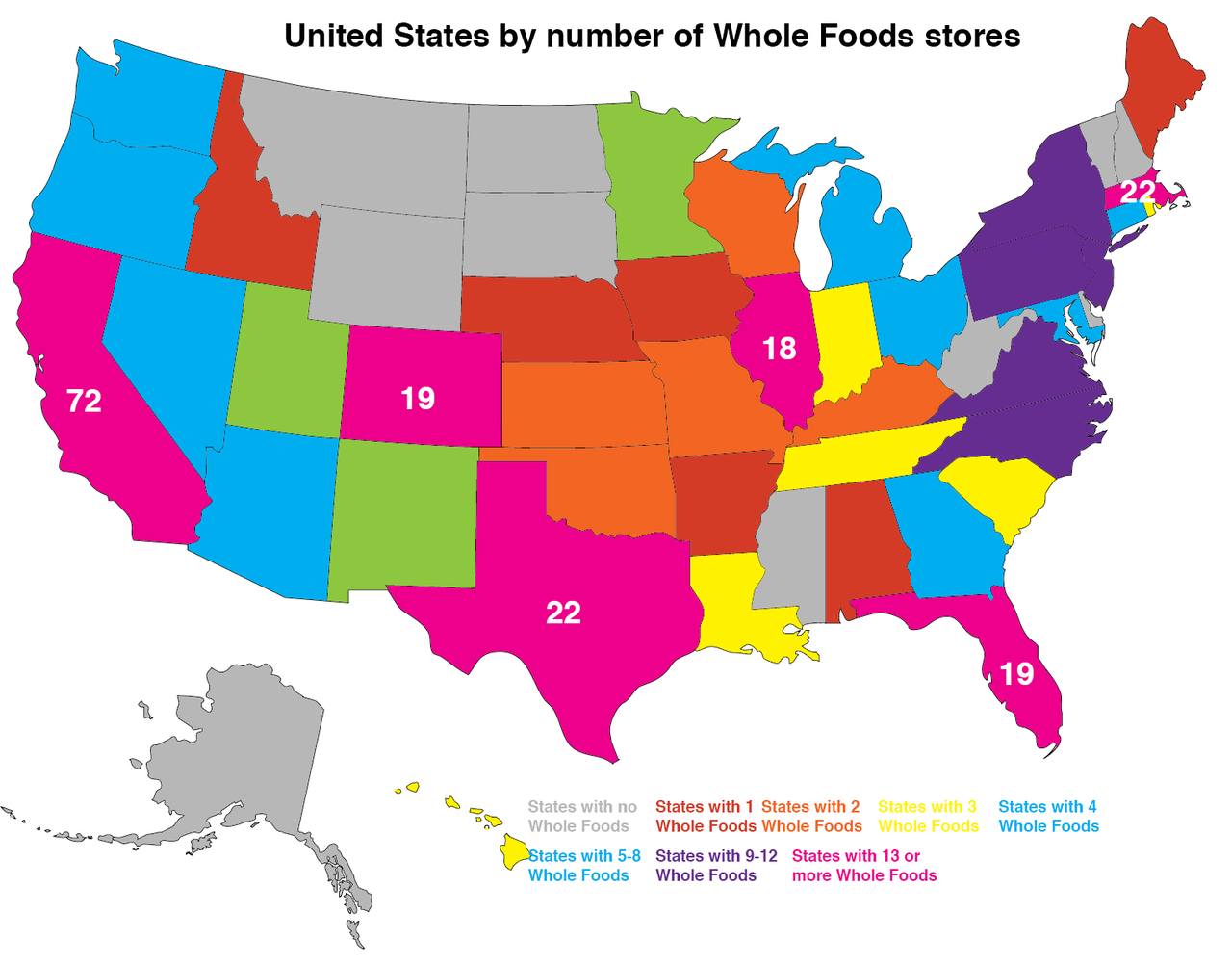 Maps On The Web United States By Number Of Whole Foods Stores - D3 us states map
