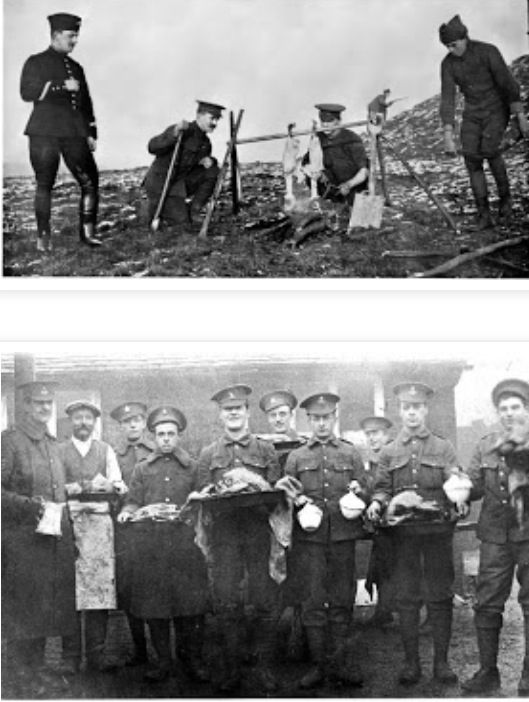 sharing a meal during the christmas truce 1914
