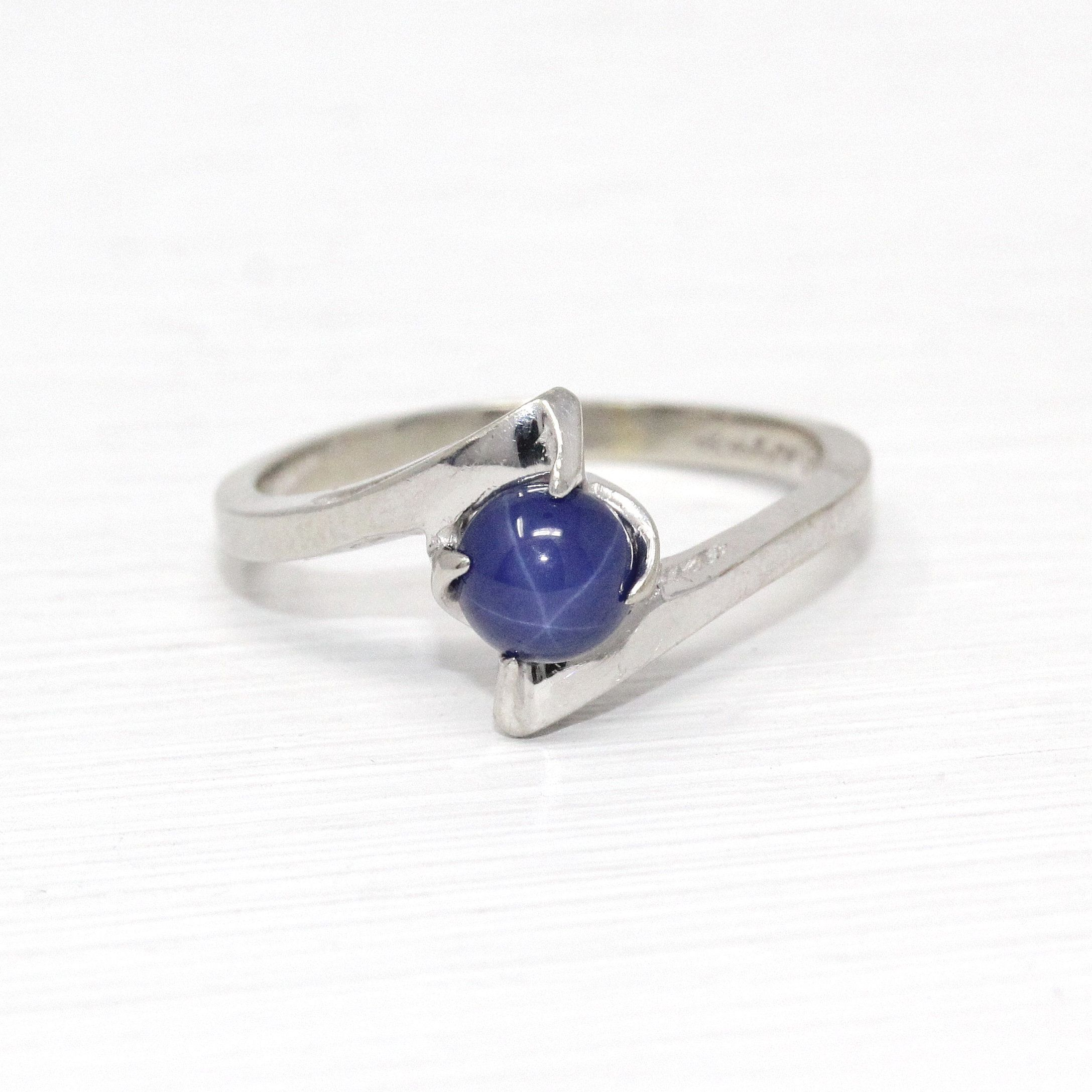 Created Star Sapphire Ring 10k White Gold Round Blue Linde Cabochon Retro Size 5 3 4 September Birthstone B Star Sapphire Ring Sapphire Ring Star Sapphire