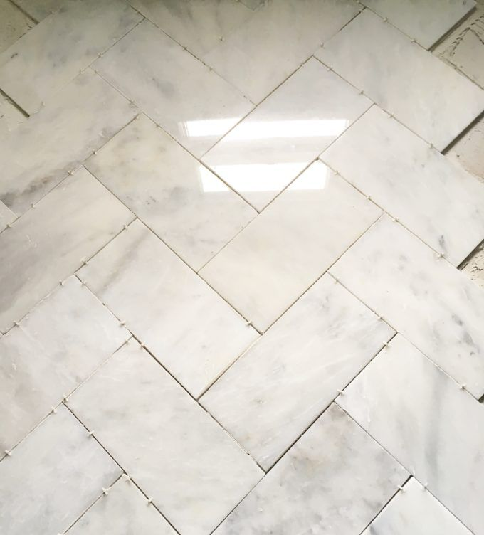 Large Herringbone Marble Tile Floor