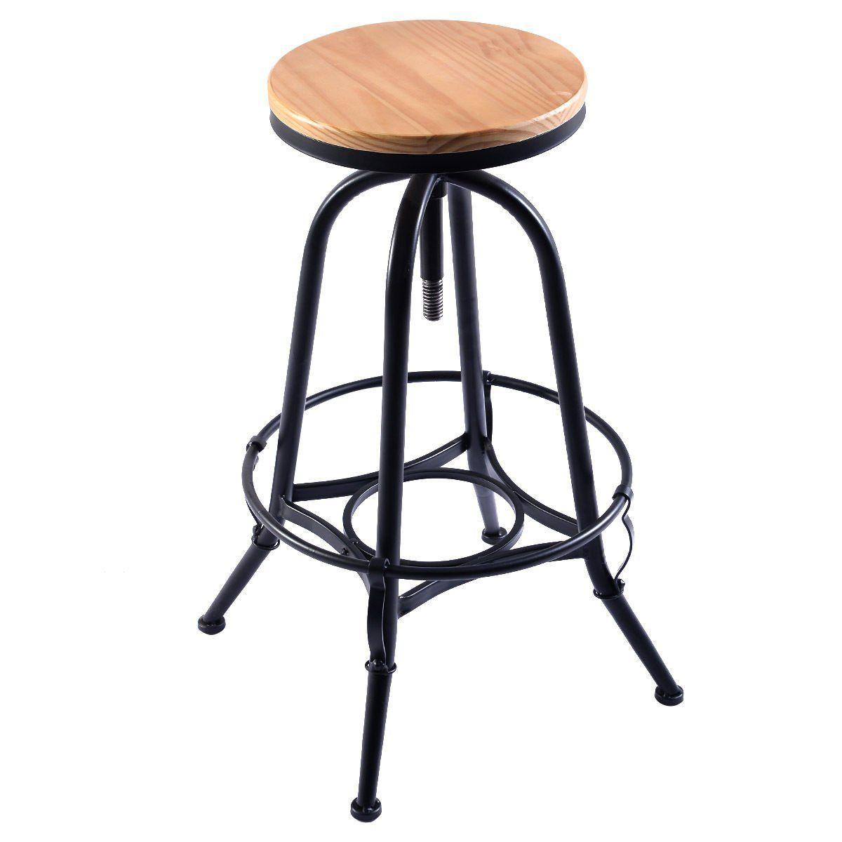 Costway Vintage Bar Stool Metal Frame Wood Top Adjustable Height Swivel Industrial 2bar Stools Vintage Bar Stools Vintage Industrial Furniture Swivel Dining Chairs