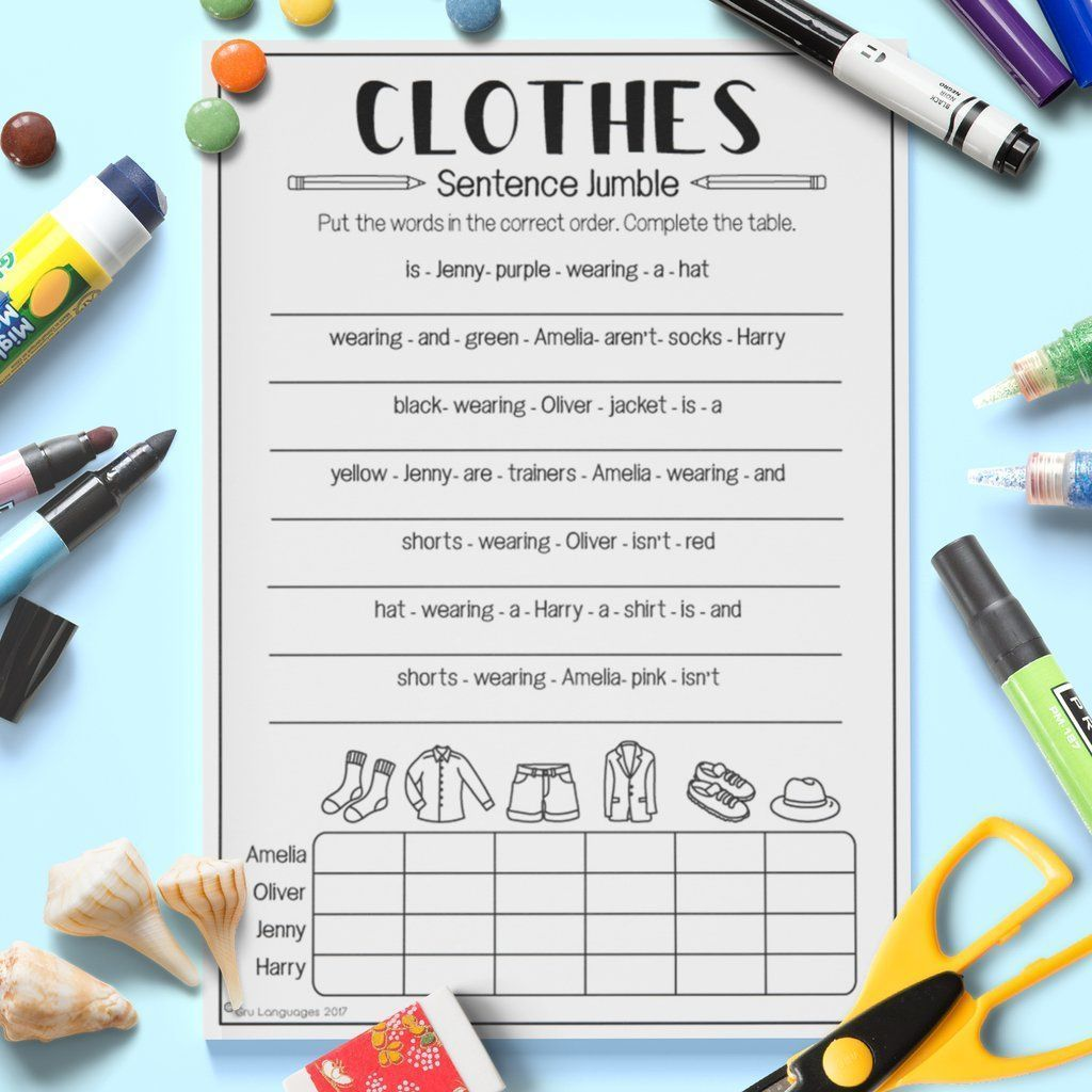 Clothes Sentence Jumble Clothes Clothes Worksh In