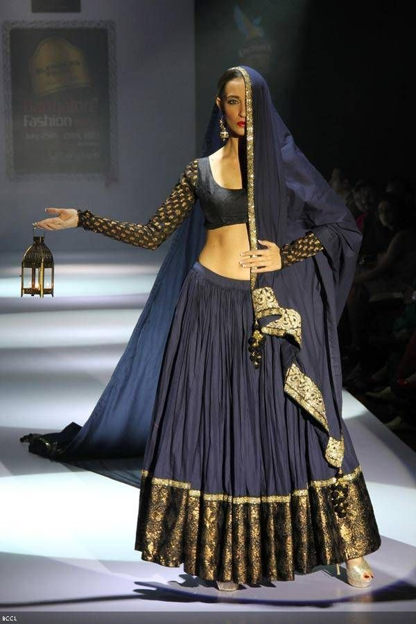a creation by designer Maushmi Badra on Day 3 of the Blenders Pride Bangalore Fashion Week (BPBFW) 2013 in Bangalore.
