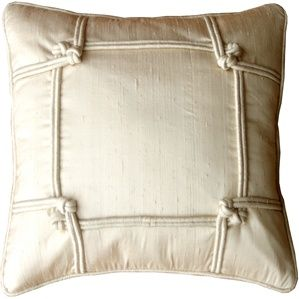 His Elegant Ivory Dupioni Silk Throw Pillow Is Embellished With A Knotted Border And Piped