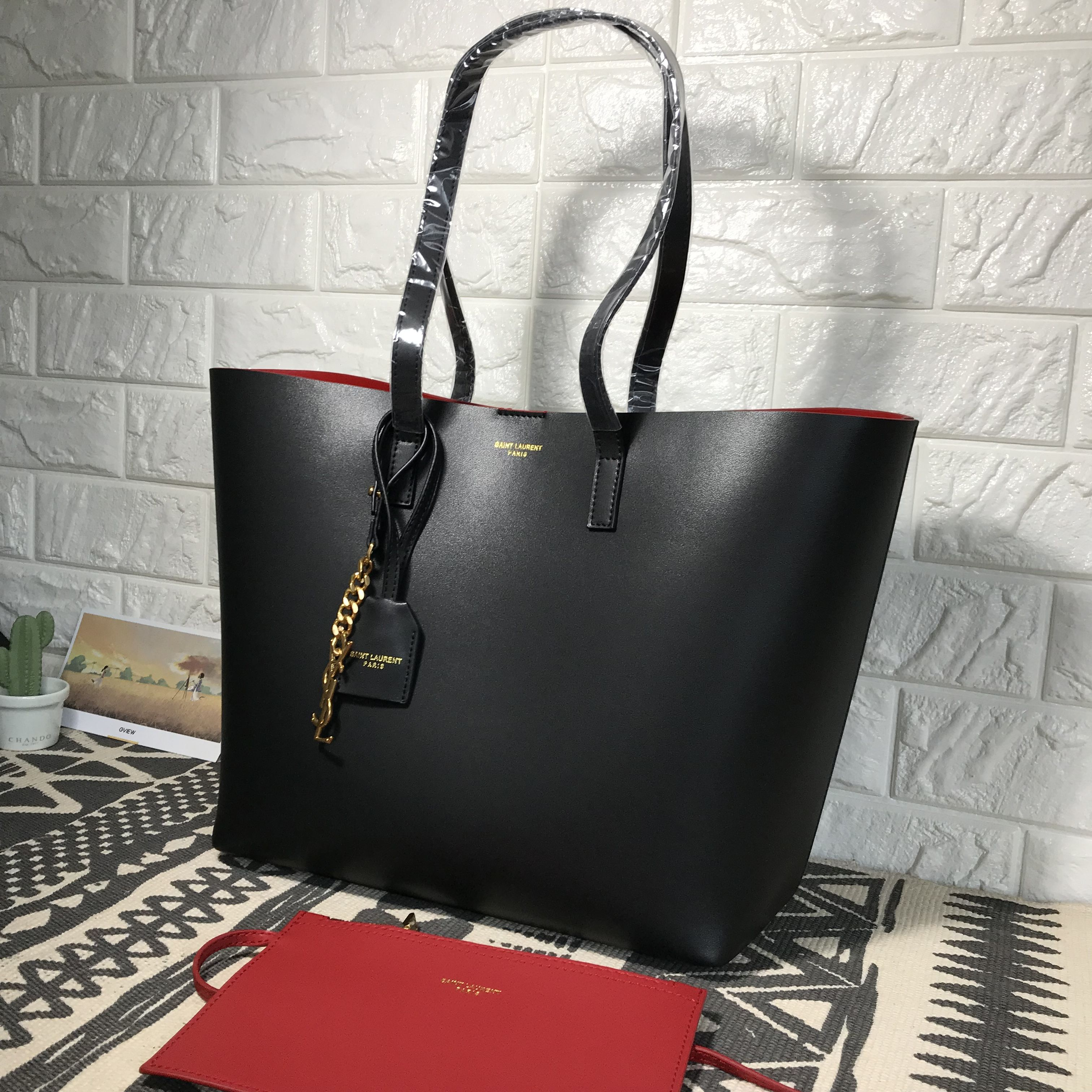 2187823dc4 Ysl Saint Laurent shopping tote bag black with red interior
