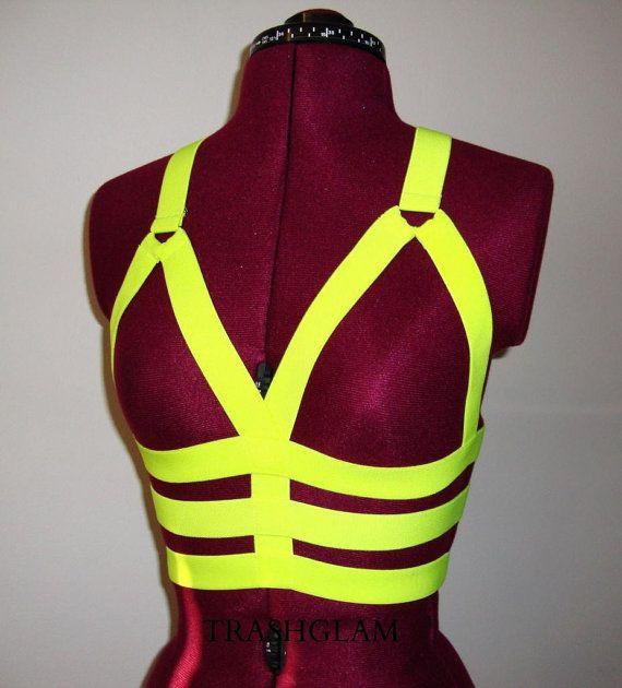 5e358f41ce Trashglam Neon yellow Elastic Bustier chest harness Costume Dancewear  Burlesque Pole