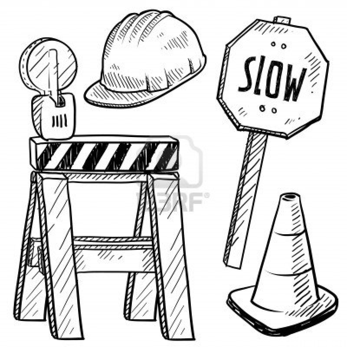 Construction Sign Coloring Page