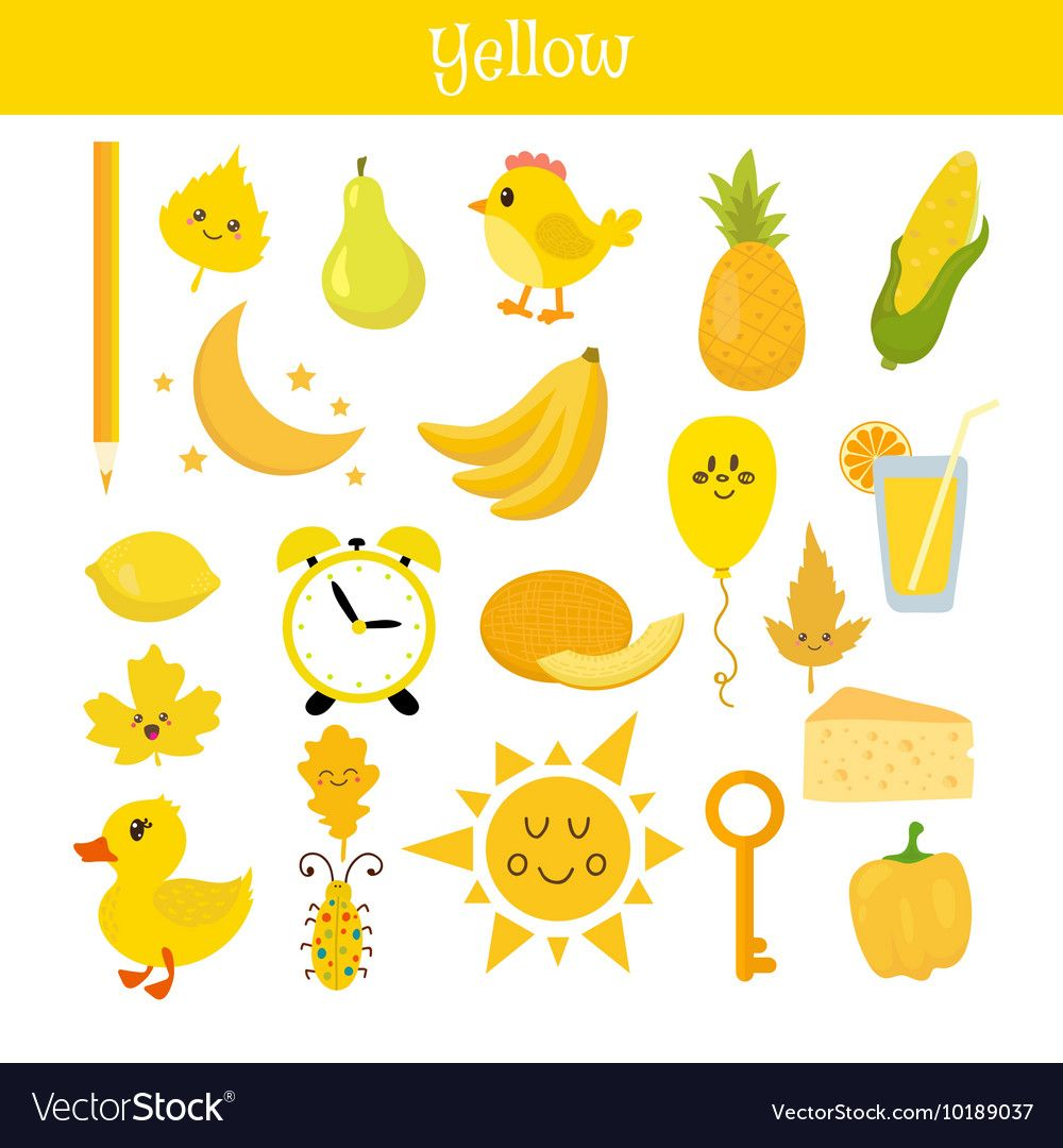 Yellow Learn The Color Education Set Of Primary Vector Image On Vectorstock Preschool Color Activities Color Activities Teaching Colors [ 1080 x 1000 Pixel ]