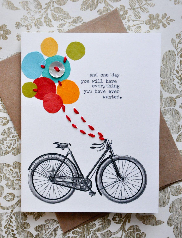 Birthday Card Handmade Greeting Card Bicycle Balloons Etsy Happy Birthday Cards Diy Embossed Cards Cards Handmade