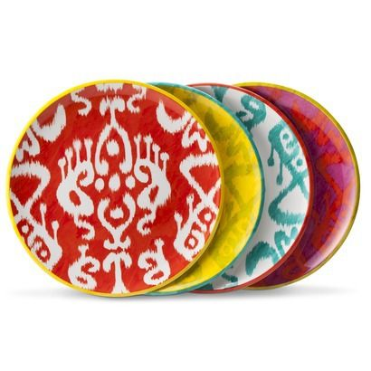 Ikat Print Melamine Assorted Dinner Plate Set 4-pc - Multicolored  sc 1 st  Pinterest : cute plastic plates - pezcame.com