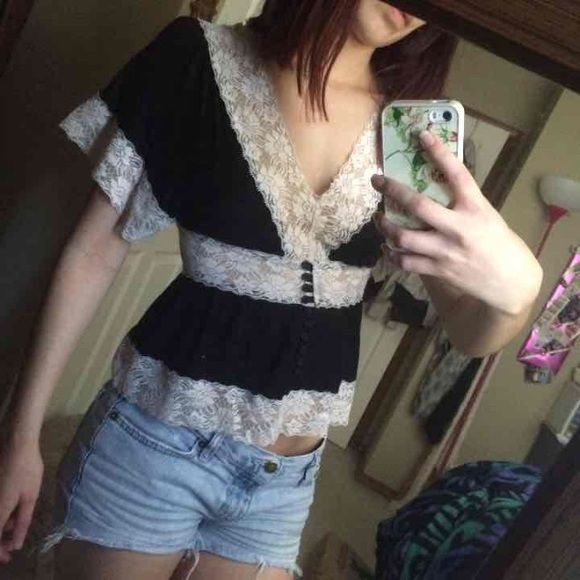 Black Lace Top Gorgeous lace top. Hardly worn so wonderful condition! Tops Blouses