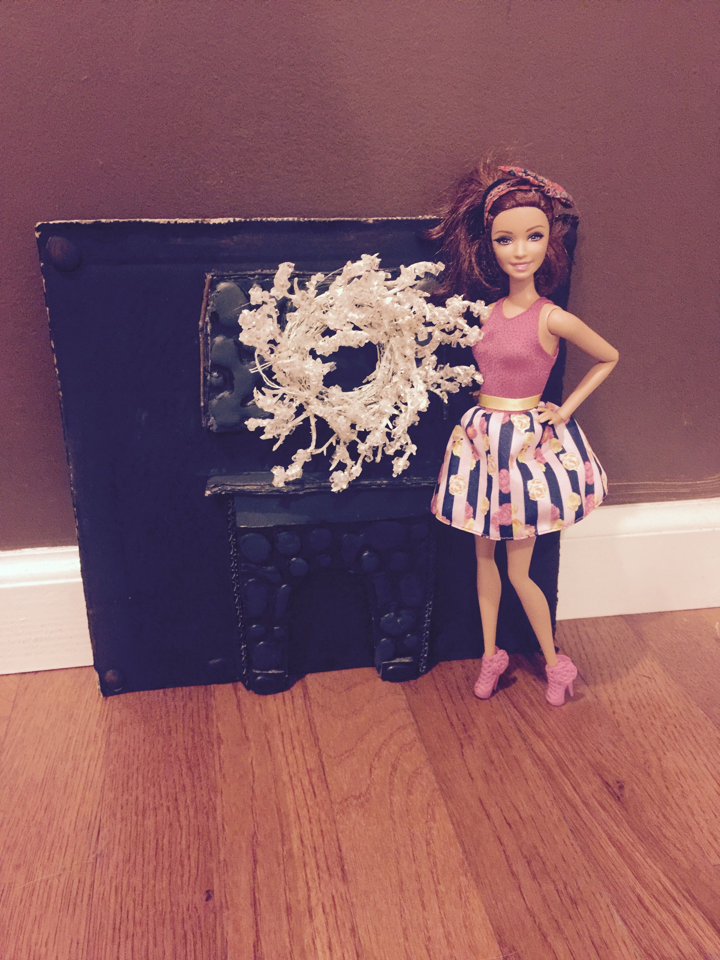 Barbie fireplace from cardboard, hot glue and paint