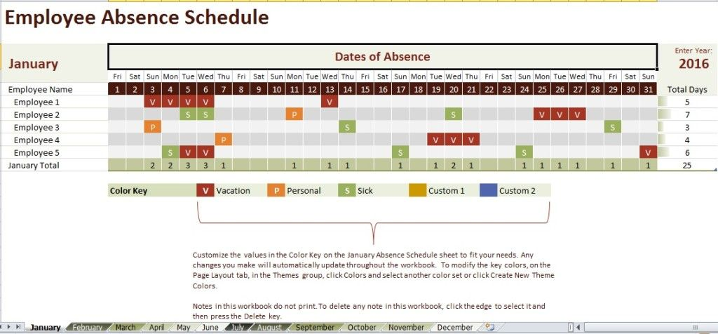 Employee Absence Schedule Template  Excel Templates