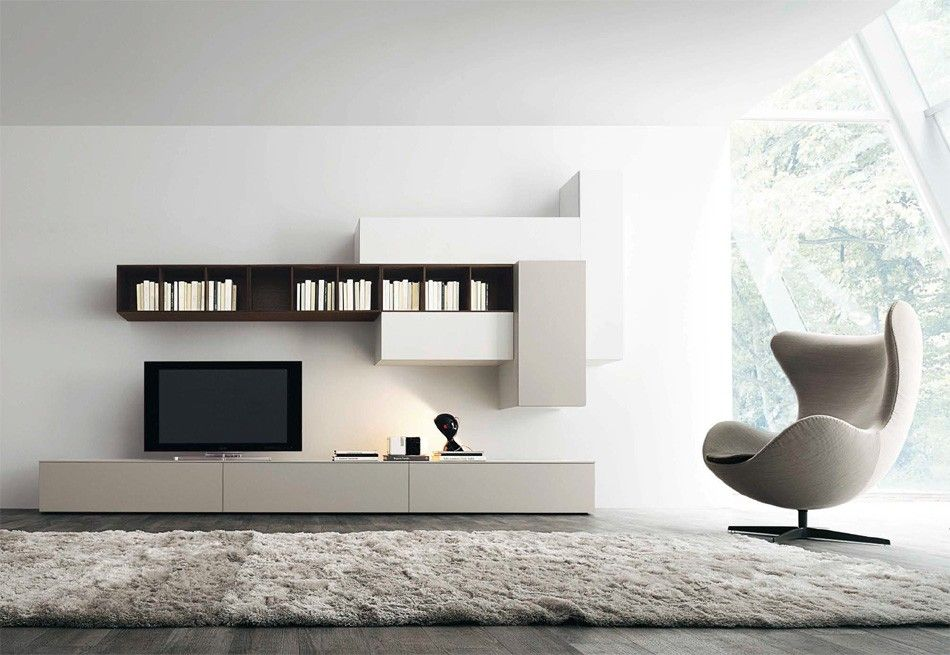 Captivating Affianco Wall Unit I By Sangiacomo, Italy In Brown Oak Veneer And Matt  Bianco And