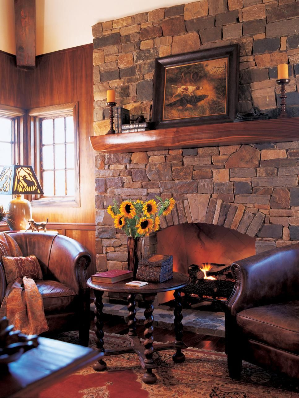 Rustic Sitting Room With Stone Fireplace Cozy Cabin Interior Wood Chair Design Dark Living Rooms