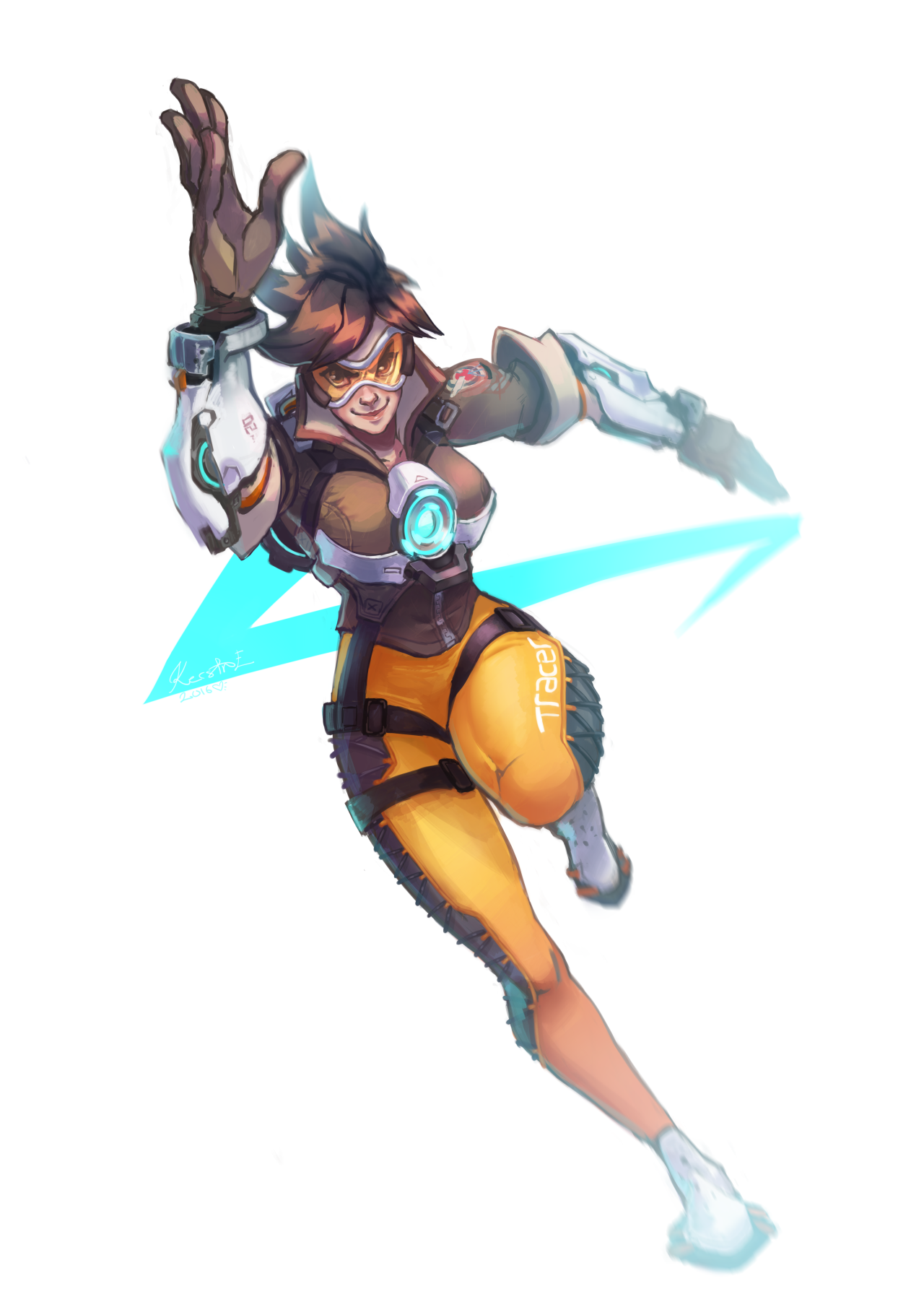 Eviart Running Tracer Been Wanting To Draw Her For So Overwatch Tracer Overwatch Drawings Tracer
