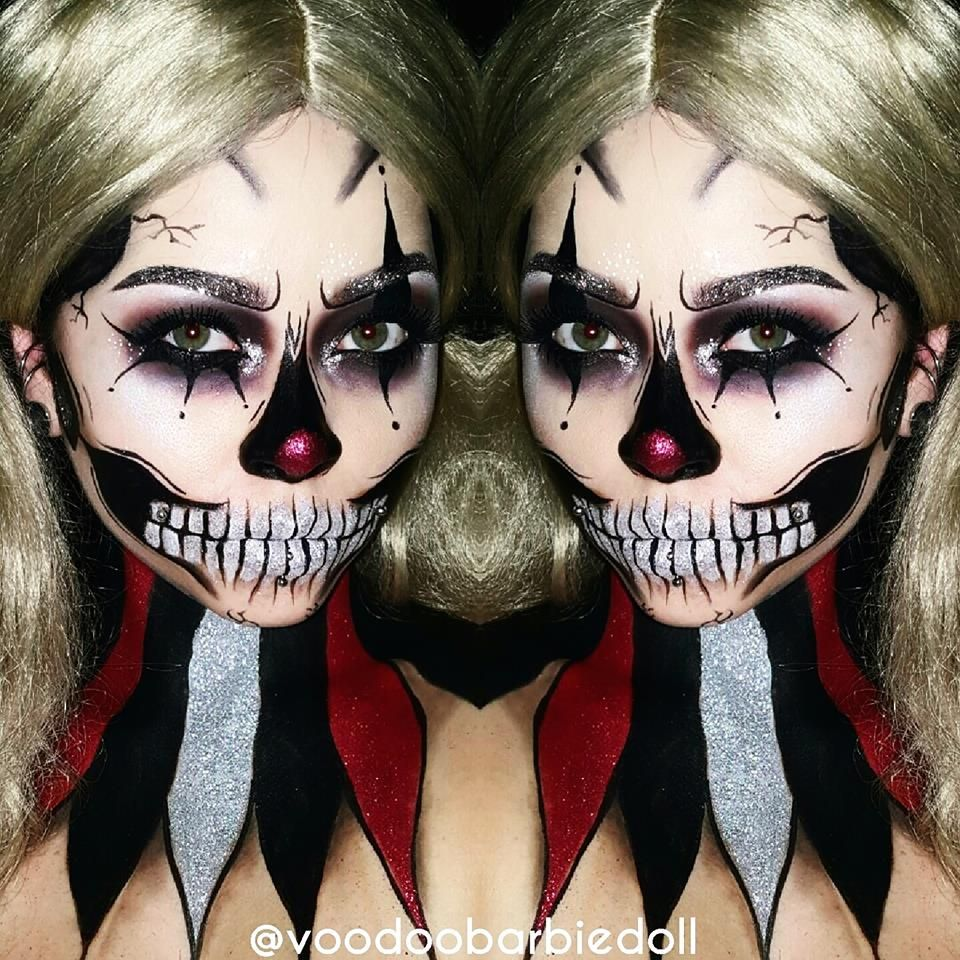 Glitter Clown Skull inspired by  jadedeacon on Instagram! IG   voodoobarbiedoll… 6c1b540a6d3b
