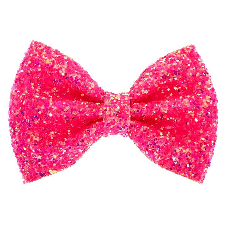Neon Glitter Mini Hair Bow Clip Pink Mini Hair Bows Bow Hair Clips Pink Hair Bows