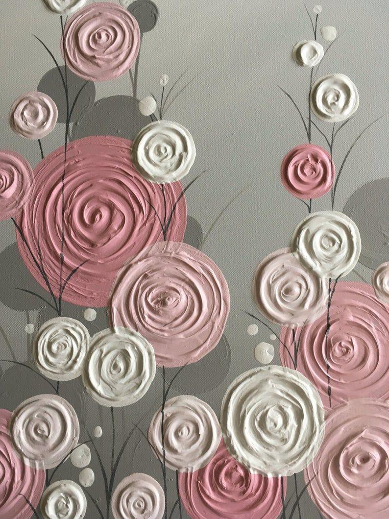Rosa und grau moderne Blumenkunst Original-Gemälde auf   Etsy