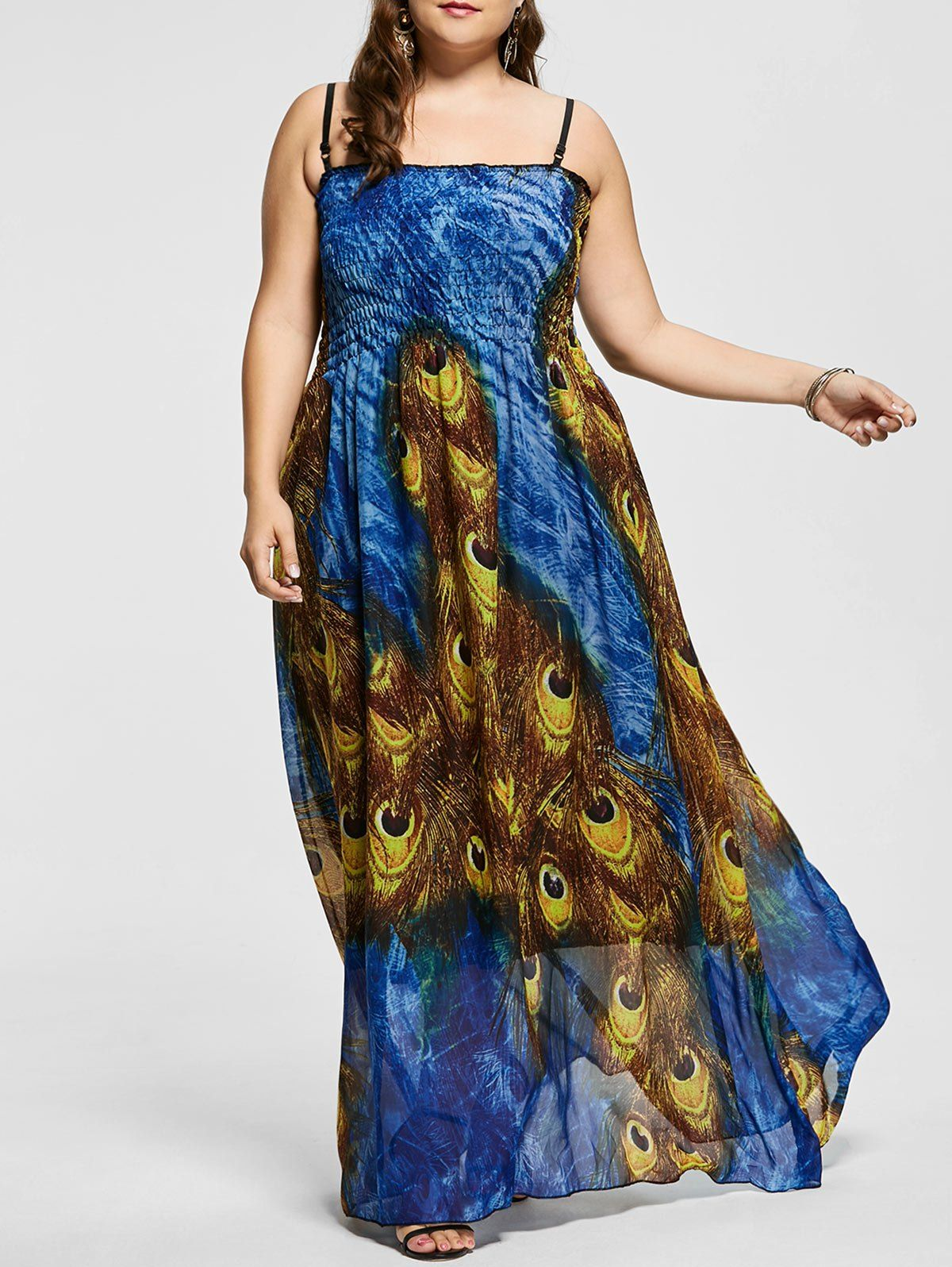 Feather print plus size a line prom dress in multicolor x