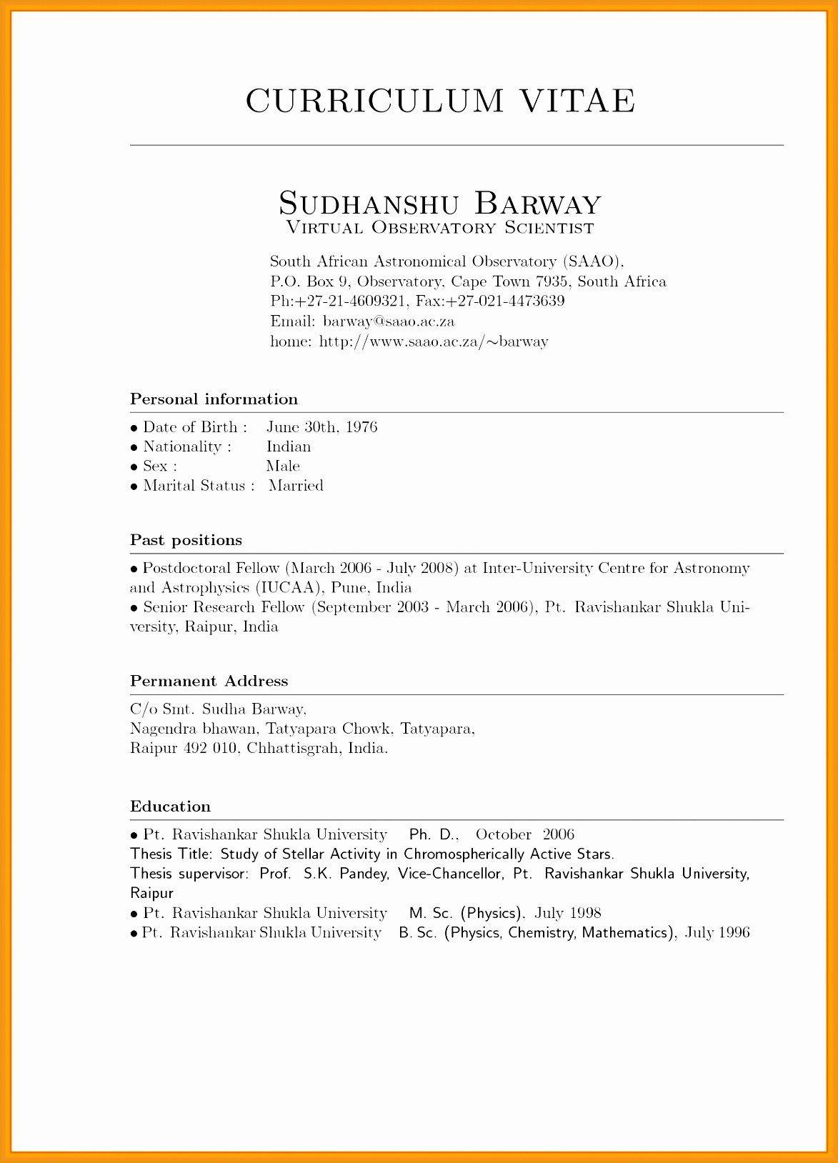 Cv Template Za Resume examples, Curriculum vitae