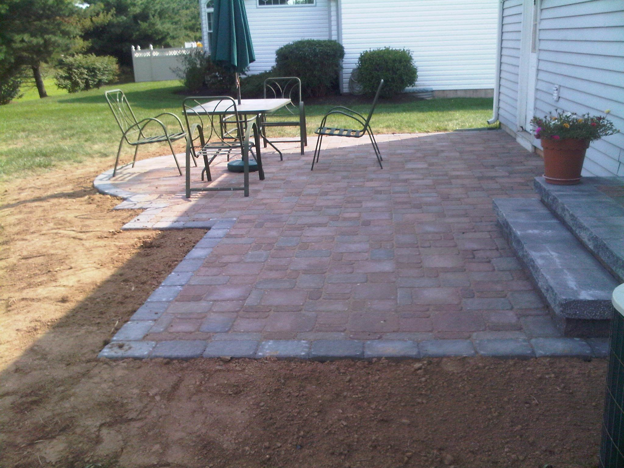 Pavers patio with a semi-circle bump out and pavers steps, Langhorne ...