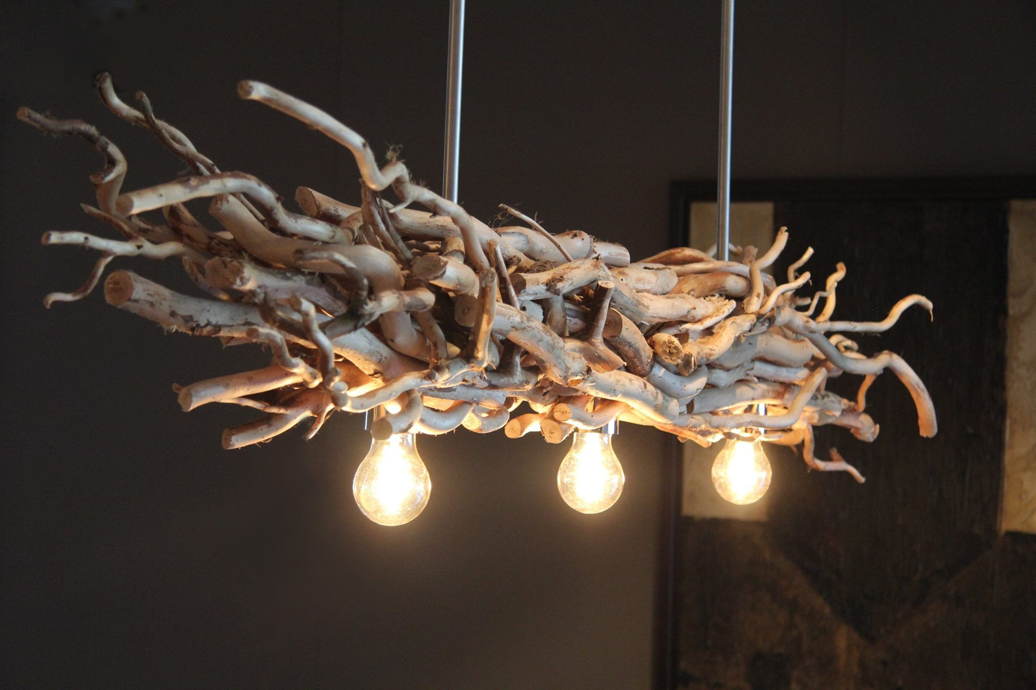 Hangeleuchte Mit Naturlichen Deko Asten Www Holz Lampen Com Holzlampe Hangeleuchte Lampen