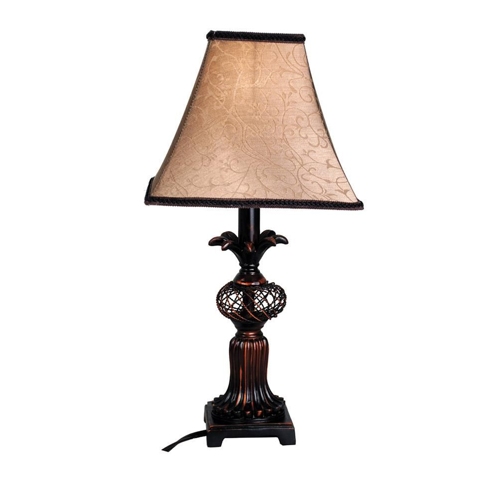 Santa's Workshop 16 in. Pembrook Antique Copper Lamp with Shade