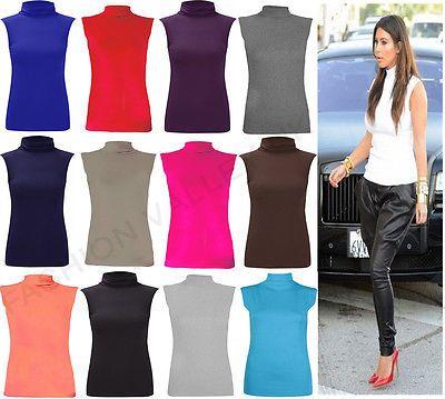 Women/'s Ladies Sleeveless Turtle Polo High Neck T-Shirt Top Plus Size 8-26