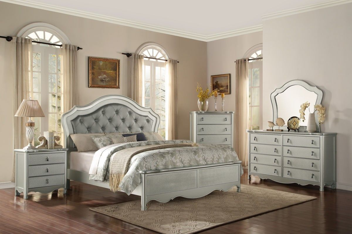 Homelegance 1901-1 Champagne Wood Queen Bed Bedroom Set Tufted ...