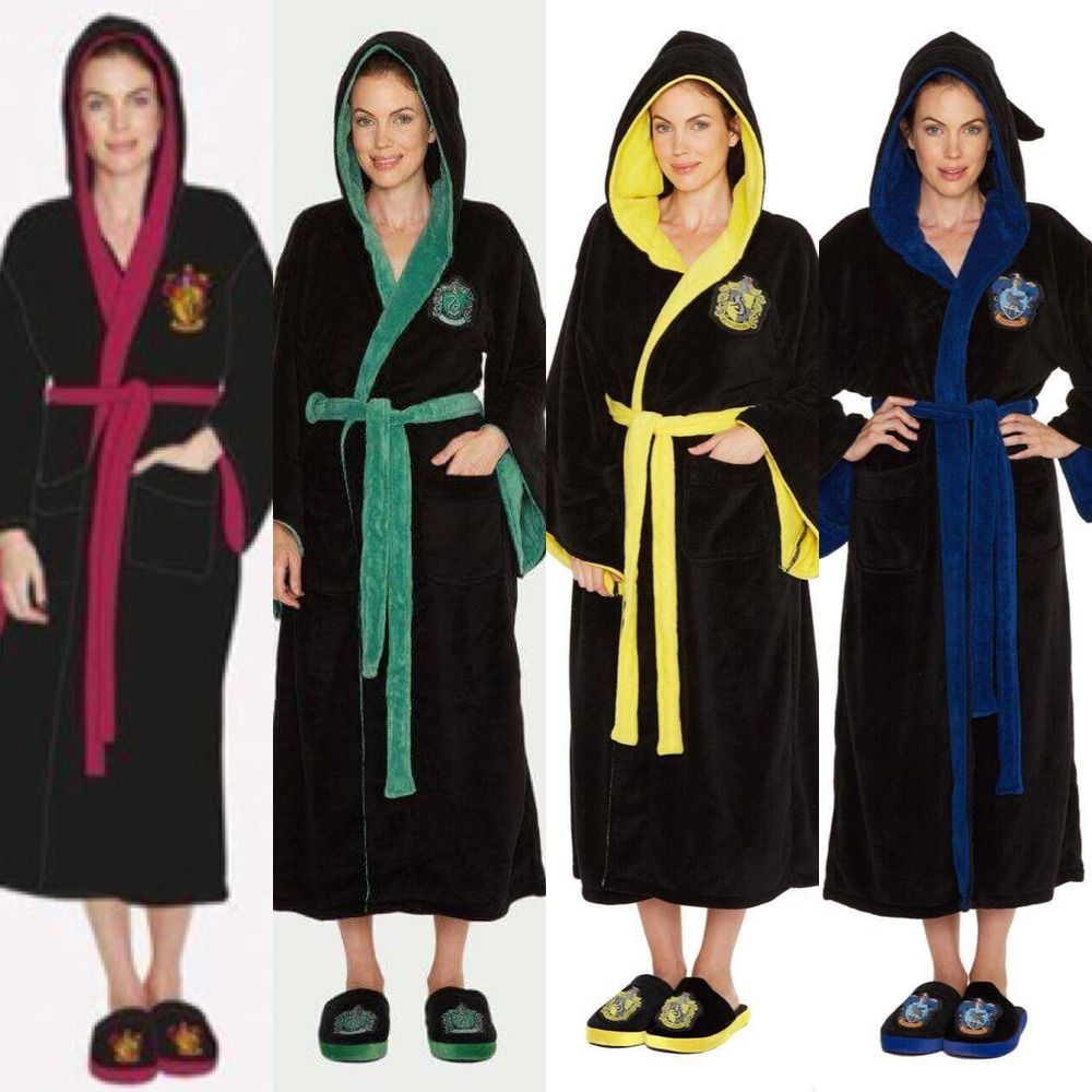 Ladies Hogwarts Fleece Bathrobe Harry Potter Dressing Gown