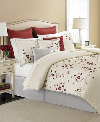 Martha Stewart Collection Cranberry Blossom 9 Piece Comforter Sets ...