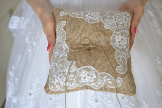Burlap Ring Pillow  Burlap Bearer Pillow Ring Cushion with Vintage Lace Ring pillow Woodland / Rustic / Cottage style Weddings