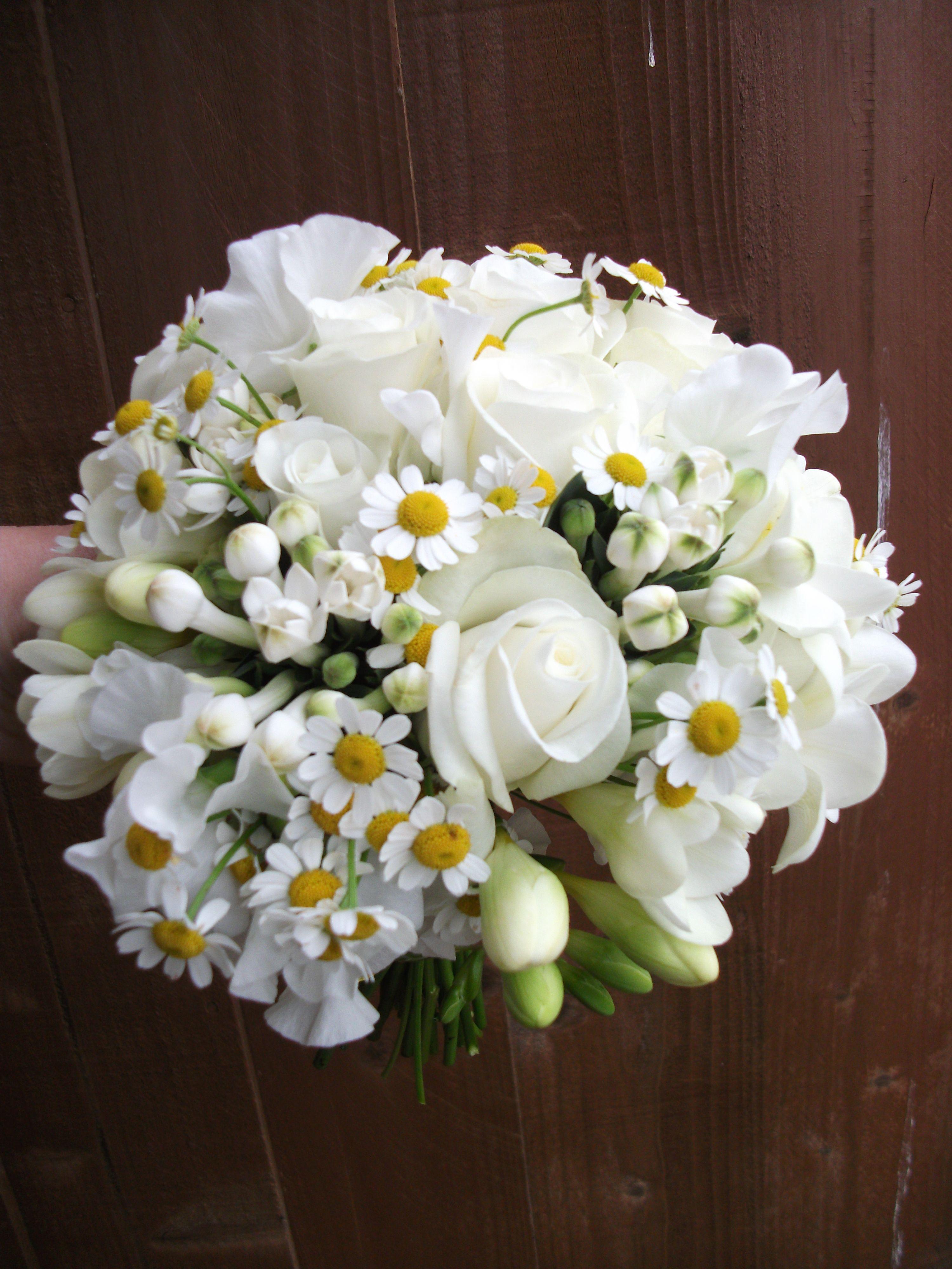 White Lisianthus And Camomile Daisies With Akito Roses Freesia And Bouvardia Cream Wedding Flowers White Wedding Bouquets Wedding Flowers