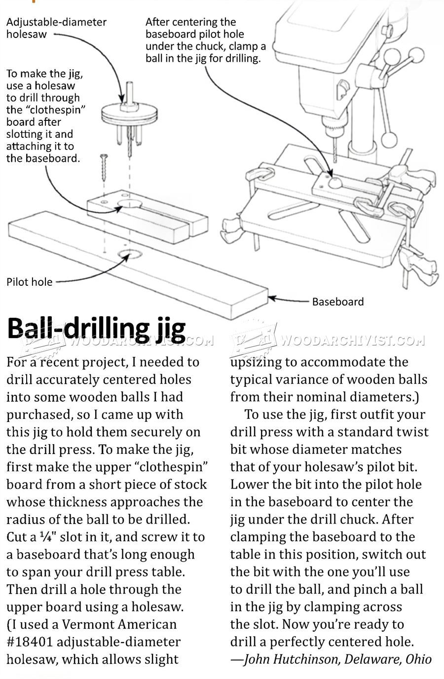 Ball Drilling Jig - Drill Press Tips, Jigs and Fixtures ...